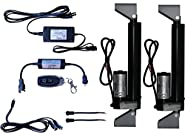WindyNation 2pcs 12 Volt Linear Actuator + Power Supply + Remote Control + Brackets