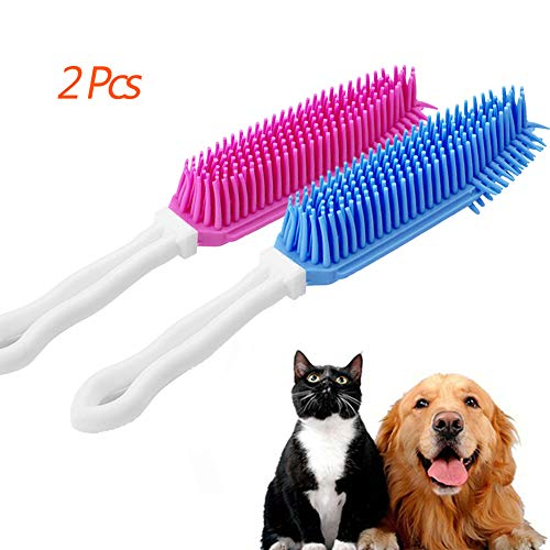 Lifeunion 2 Pcs Pet Hair Remover Brush Great on Furniture, Car, Carpet, Bedding for Cats Dogs (Blue, Red)