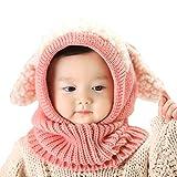Lindo Bebé del Invierno Niñas y Niños Cálidos Sombreros Lana Tapas de Bufanda de Cuello Capucha de Punto (rosa)
