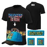 WWE Superstar Cotton Short Sleeved T-shirt , Cap , Sweatbands strong Wristbands 5/2 Piece Set Wrist RAW for Kids ,MEN (M, black4)