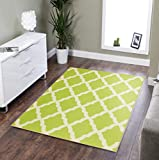Ottomanson Glamour Collection Contemporary Moroccan Trellis Design Kids Lattice Area Rug (Non-Slip) Kitchen and Bathroom Mat Rug, 5'0' X 6'6', Green