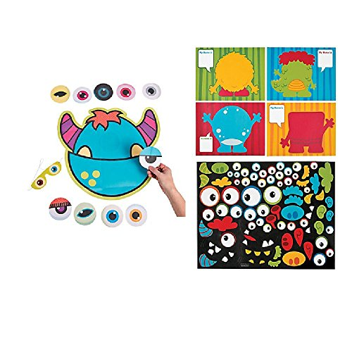 Pin the Eye on the MONSTER Party Game & 12 LARGE Make a Monster Sticker Sheets - PARTY Favors HALLOWEEN - Daycare CLASSROOMS Activity (Classroom Halloween Games)