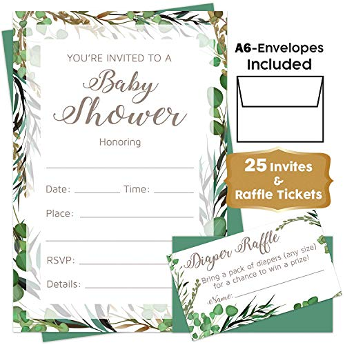 Gender Neutral - Green Leaf Baby Shower Invitations Boy or Girl with Envelopes and Diaper Raffle Tickets. Set of 25 Green Leaf Rustic Invitation - Safari Greenery Tropical Baby Shower Invitations