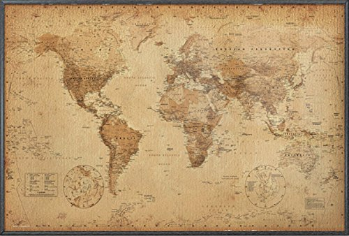 Antique Framed Print (Antique Style Map Of The World - Framed Poster / Print (World Map) (Size: 36