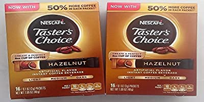 Nescafe Taster's Choice Instant Coffee Hazelnut, 16-Count Packet, (Pack of 2)