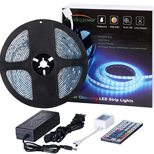 (LED Strip Light, AMAZING POWER Waterproof Color Changing LED Strip Self Adhesive Rope Lights with IR Remote and 12V 2A Power Supply)