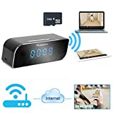 Toughsty™ 8GB 1280x720P HD Indoor Hidden Camera Wifi Network Clock Motion Activated Video Recording Support Android iPhone APP 160°Wide View
