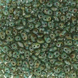 Czech Two-hole Superduo Beads 5.5x2.5mm Aqua Travertin Dark 24g