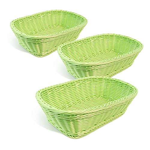 Colorbasket 31404-202 Hand Woven Waterproof Rectangular Basket, Lime Green, Set of 3
