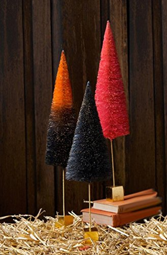 Red Bottle Brush Tree - Halloween Sisal Bottle Brush Trees Ombre with Gold Block Base, Set of 3, 16.5
