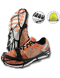 Traction Cleats, Crampons for Walking on Snow and Ice, Anti-slip Ice Grips, Snow Grips, Universal Size, Lightweight Ice Grippers, with Safety Straps & Waterproof Bag, Perfect for Jogging or Hiking