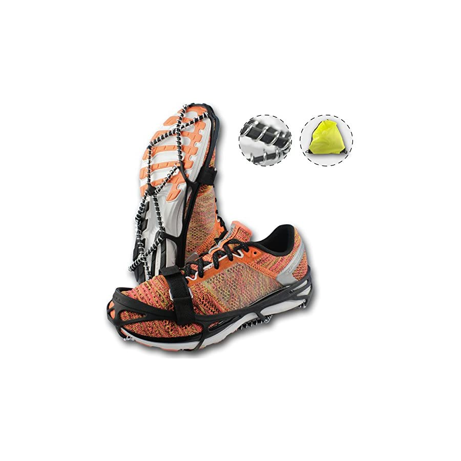Traction Cleats, Crampons for Walking on Snow and Ice, Anti slip Ice Grips, Snow Grips, Universal Size, Lightweight Ice Grippers, with Safety Straps & Waterproof Bag, Perfect for Jogging or Hiking