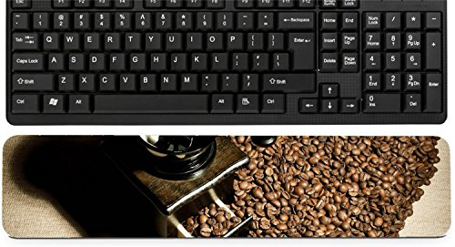Liili Keyboard Wrist Rest Pad Long Extended Arm Supported Mousepad IMAGE ID: 17227187 still life of the wooden old coffee grinder stand in great plenty of coffee in grains