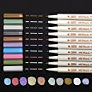 dainayw Metallic Marker Pens, Set of 10 Colors,For Card Making,DIY Photo Album, Use On Any Surface-Paper,Rock Painting,Glass,Plastic,Pottery,Wood,DIY Photo Album (Round Tip)