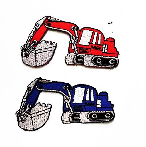 Nipitshop Patches Set of 2 Red and Blue Patch Backhoe Digger Tractor Loader Trackhoe Bulldozer Applique Iron-on Patch Jacket T Shirt Patch Sew Iron on Embroidered Symbol Badge Cloth Sign Costume