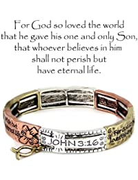 Silvertone John 3:16 Verse Double Stretch Tri-Color Bracelet