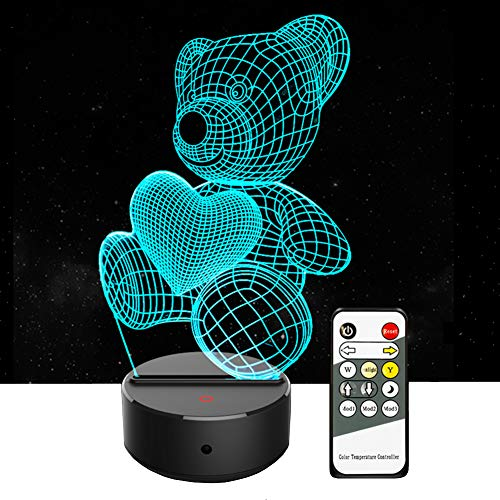 (3D Night Light - 3D Lamp Cute Teddy Bear Desk Table Lamp 7 Colors Changing 3D Optical Illusion Light Remote Control Night Lights for Kids Boys Girls Women, Best Birthday Christmas Gift (Little Bear))
