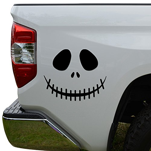 Rosie Decals Death Skull Jack Skellington Halloween Die Cut Vinyl Decal Sticker For Car Truck Motorcycle Window Bumper Wall Decor Size- [6 inch/15 cm] Wide Color- Gloss White -
