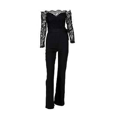 7bdd65bd34ab Amazon.com  Forart Women s Long Sleeve Slash Neck Lace Jumpsuits Off  Shoulder Long Pants Rompers Strapless Bodysuits  Clothing