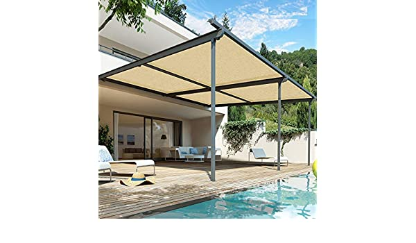 WXQIANG - Sombrilla de 90% tela con ojales para cubierta de pérgola ventilación, ventilación, permeable al agua, luz solar, Fibra sintética, 100cmX100cm: Amazon.es: Hogar