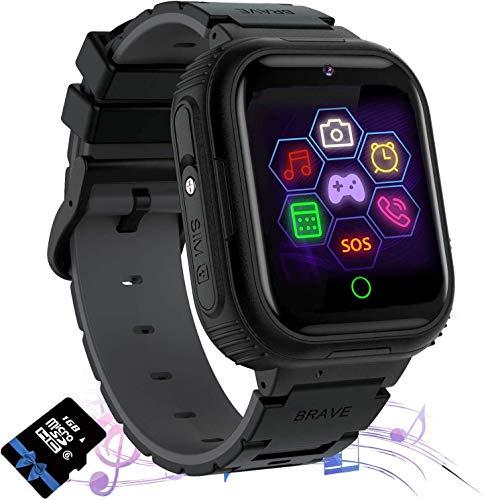 Kinderen Smart horloge Telefoon met Muziek en Spelletjes voor Jongens Meisjes 1.57 HD Touchscreen (zwart)