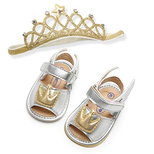 Randolly Child Shoes,Baby Girls Crown Cuty Fashion Toddler First Walkers Kid Shoes with Hairband Silver ()