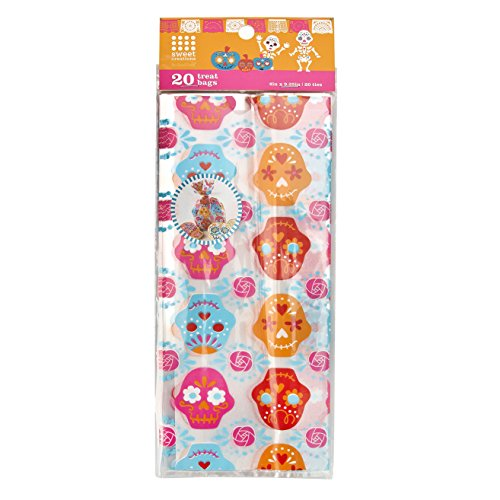 Sweet Creations 20 Count Day of the Dead Halloween Party Skull Treat Bags]()