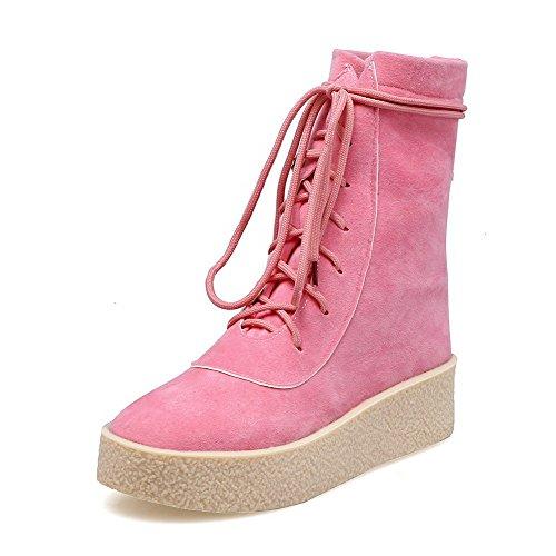 AllhqFashion Damen Rein Mattglasbirne Niedriger Absatz Rund Zehe Schnüren Stiefel Pink