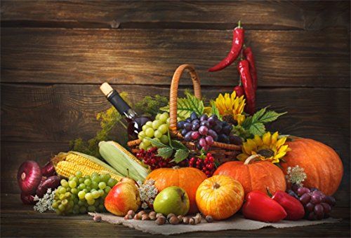 CSFOTO 6x4ft Background for Thanksgiving Day Decor Autumn Harvest Photography Backdrop Red Wine Corn Grape Pumpkin Pepper Feast Celebrate Holiday Ornament Festival Studio Props Polyester Wallpaper