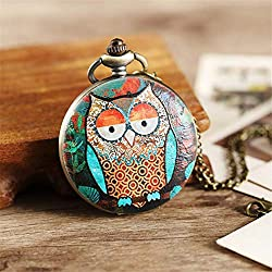 jklek Design Owl Pocket Watch Chain Necklace Pendant Mens Flip Case Watch Hour Clock for Men Women Lady owl 5