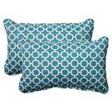 Almohada ideal en interiores/exteriores Rectangular Hockley con cojín decorativo, Teal, Juego de 2