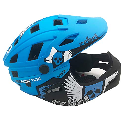 Face Kids Bicycle Helmet - BeBeFun Brave BMX/Downhill Kids/Child 52-55cm Full Face Bicycls Helmet (Navy)
