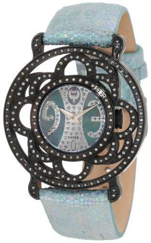 Black Papillon Watch - Brillier Women's 04-11121-04-Bl Papillon Swiss Quartz Mother-Of-Pearl Watch