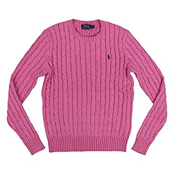Ralph Lauren Polo Womens Cable Knit Crew Neck Sweater (X-Small, Blush Pink)