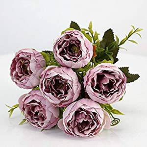 Hozhang 6 Heads/Bouquet Peonies Artificial Flowers Silk Peonies Bouquet White Pink Wedding Home Decoration Fake Peony Rose Flower 44