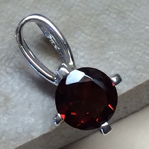 Natural 1ct Rhodolite Garnet 925 Solid Sterling Silver Pendant 14mm Long