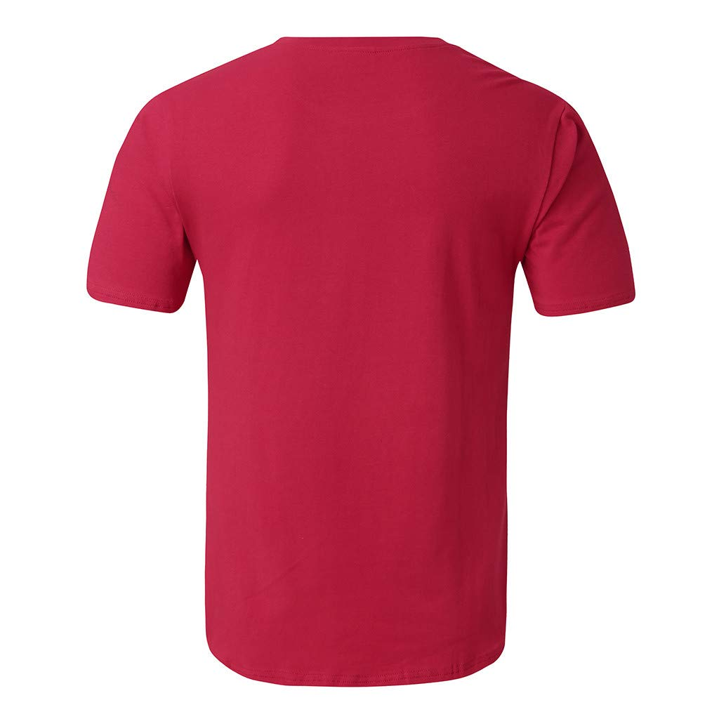 Hombres Moda Cuello Redondo Manga Corta Camisa Dobladillo Eliptico ...