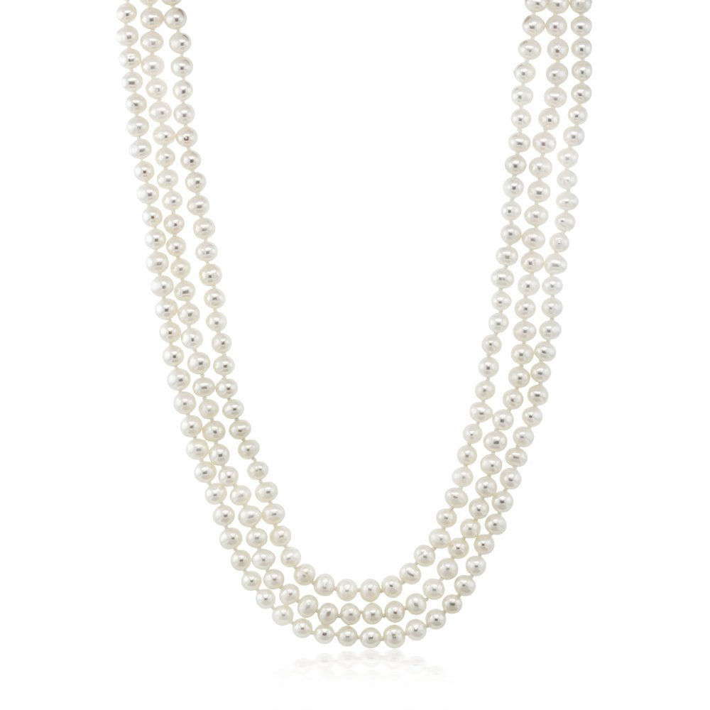 White Endless 72'' Cultured Freshwater Pearl Necklace Individually Hand Knotted