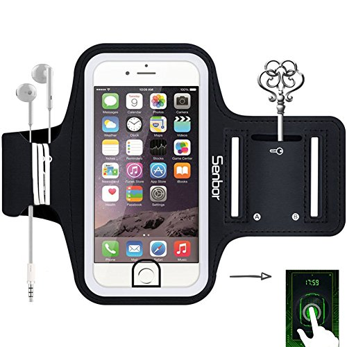 Senbor Sports Armband, Sweatproof Running Exercise Gym Fitness Cellphone Sportband bag with [ Fingerprint Touch ][ Key Holder ][ Card Slot ] for iPhone 7 Plus 6 6s Plus Samsung Galaxy S8 S7 Edge 51CNKIsCufL
