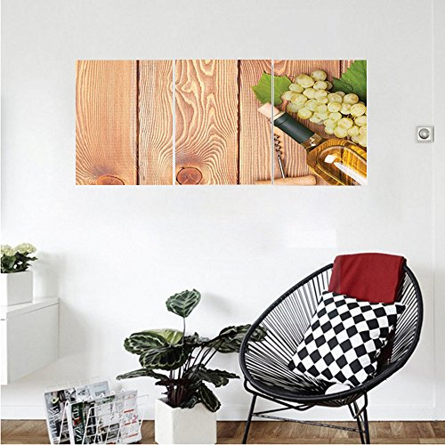 Liguo88 Custom canvas Winery Decor Wall Hanging Wine Bottle and Bunch of Grapes on Wooden Table Background Romantic Italian Dinner Theme Bedroom Living Room Decor Green Brown - Lexan Bottle Cool