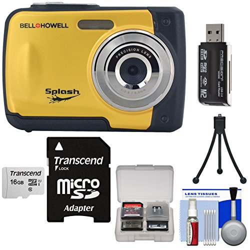 Bell & Howell Splash WP10 Shock & Waterproof Digital Camera (Yellow) with 16GB Card + Tripod + Reader + Kit by Bell + Howell