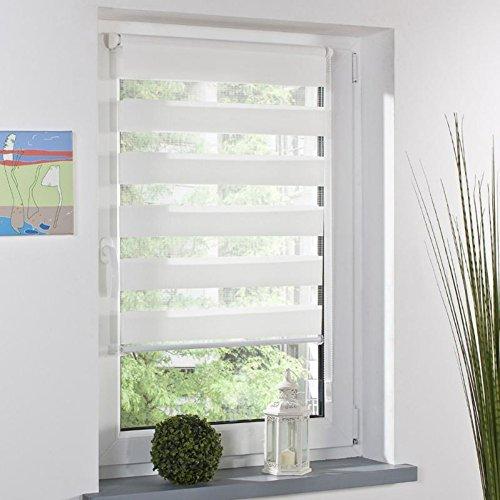 Feichen Fensterrollo Duo-Rollo Sonnenschutz mit Kettenzug und Klemmfix in WEISS, Leisten in Weiss inkl. Zubehör ohne Bohren