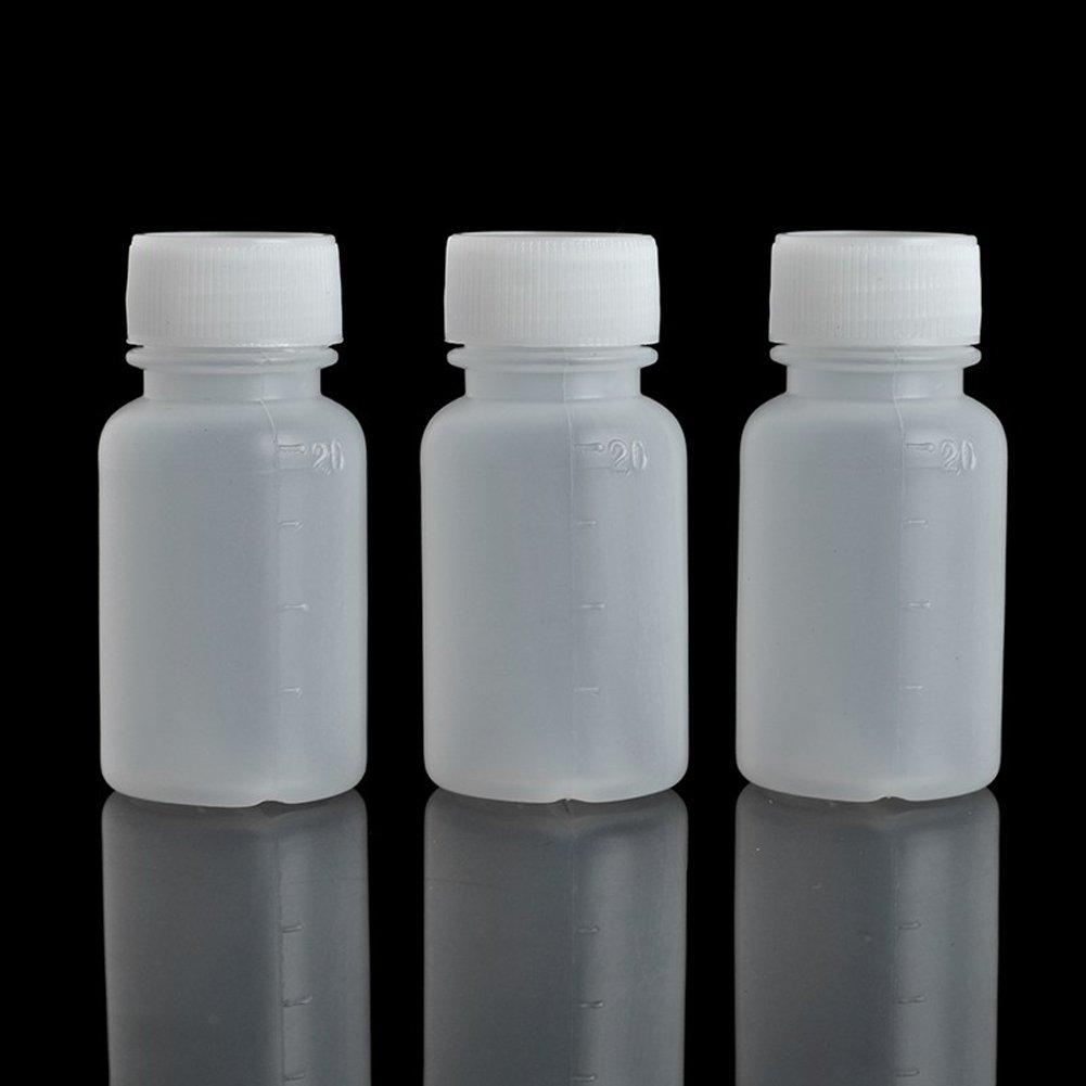 Dealglad 100Pcs 20ml PE Plastic Empty Small Mouth Graduated Lab Chemical Container Reagent Bottle Sample Sealing Liquid Medicine Bottle