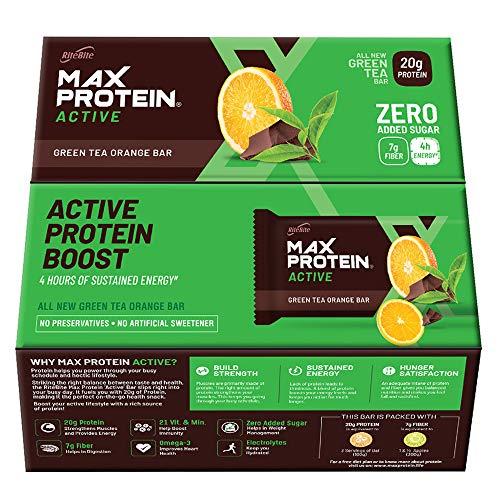 RiteBite Max Protein Active Green Tea Orange Bars 840g – Pack of 12 (70g x 12)