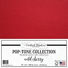 "WILD CHERRY RED Cardstock Paper 12"" x 12"" - 100 lb. Heavyweight Cover - 25 Sheets from Cardstock Warehouse"