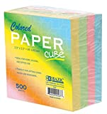 BAZIC Color Paper Cube. 500 Count Multi-Color Memo Cube for Notes, Lists, and Office or Home Organization (85mm X 85mm)