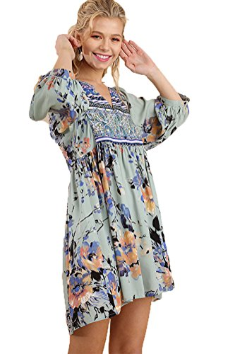 Umgee Women's Bohemian Tunic Dress (S, Sage Combo) (Peasant Blu Top)