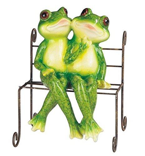StealStreet SS-G-61212, Green Frog Sitting on Grey Metal Bench Decorative Figurine Statue (Green Frog Sitting)