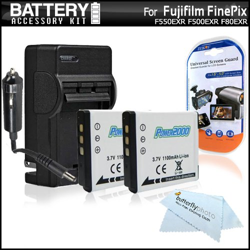 2 Pack Battery and Charger Kit for Fujifilm FinePix F660EXR XF1 F750EXR F550EXR F80EXR F600EXR F505 F800EXR X20 F850EXR F900EXR Digital Camera Includes 2 Replacement NP-50 Batteries + Charger + More
