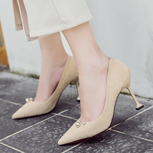 single satin the shoes light women's occupational of pink Black shoes shoes wild fine high heeled Pointed bare with shoes cm 6 37 wPWnxvOAYq